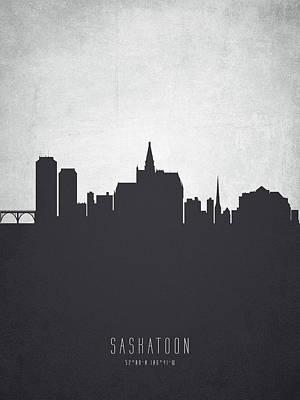 Saskatchewan Painting - Saskatoon Saskatchewan Cityscape 19 by Aged Pixel