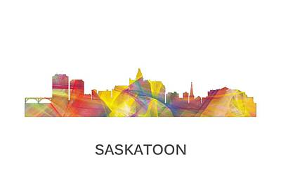 Sask Digital Art - Saskatoon Sask.skyline by Marlene Watson