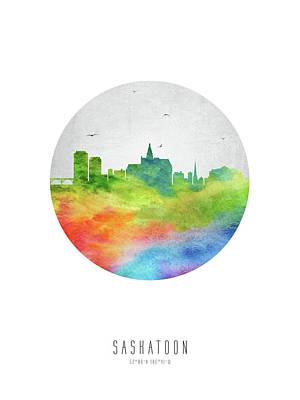 Saskatoon Skyline Casksa20 Print by Aged Pixel