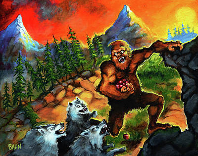 Sasquatch Chased By Wolves Art Print
