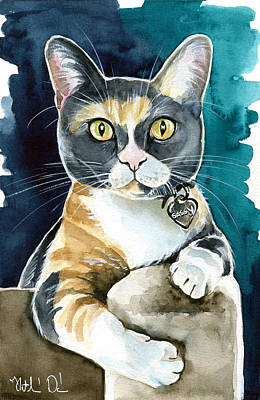 Painting - Sassy - Calico Cat Painting by Dora Hathazi Mendes