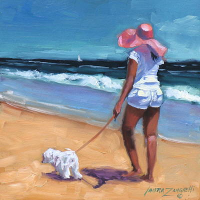 Dog In Landscape Painting - Sassy Jr by Laura Lee Zanghetti