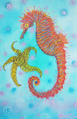 Seahorse Painting - Sassy Seahorse by Laura Barbosa