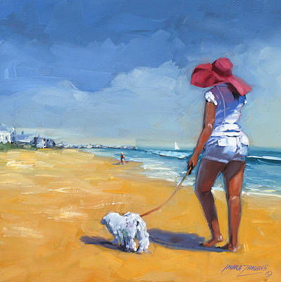 Dog Beach Painting - Sassy Three by Laura Lee Zanghetti