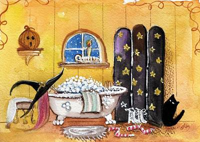 Witch Cat Painting - Sat Nite Bubble Bath  by Sylvia Pimental