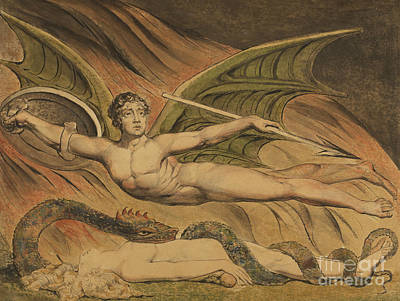 Good Over Evil Painting - Satan Exulting Over Eve, 1795  by William Blake