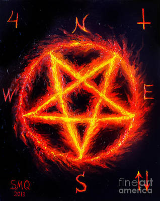 Pentagram Painting - Satanic Fire Pentagram. Hail 666 by Sofia Metal Queen