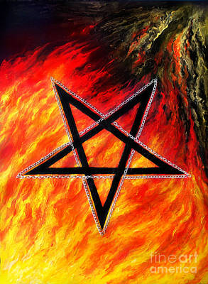 Satanic Pentagram And Fire Original
