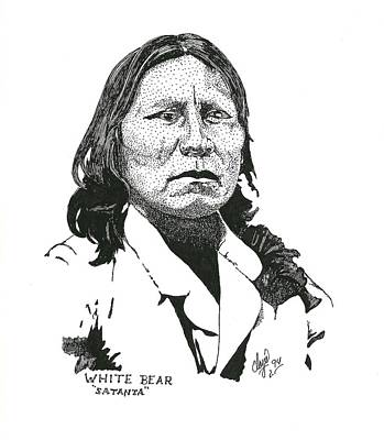 Drawing - Satanta White Bear by Clayton Cannaday