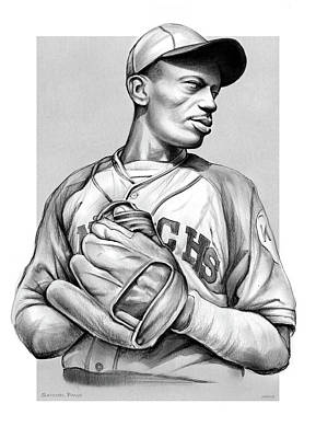 Sports Drawings - Satchel Paige by Greg Joens
