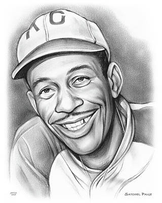 Athletes Drawings - Satchel Paige II by Greg Joens