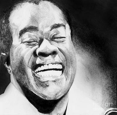Smiling Mixed Media - Satchmo by Carrie Jackson