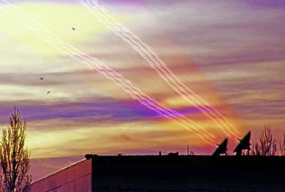 Networking Digital Art - Satellite Dishes On Roof Transmitting by Steve Ohlsen