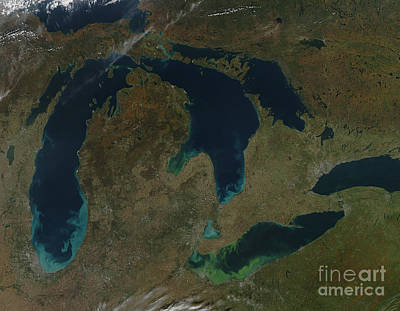 Photograph - Satellite View Of The Great Lakes, Usa by Stocktrek Images