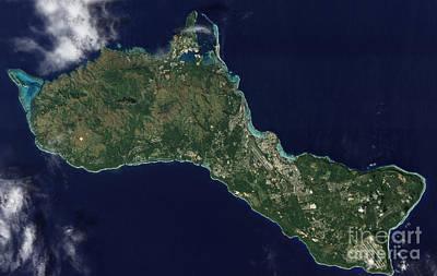 Satellite View Of The Island Of Guam Art Print
