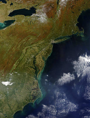 Landmass Photograph - Satellite View Of The United States by Stocktrek Images