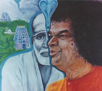 Sai Baba Painting - Sathya Sai Baba- Shirdi Sai Baba by Anne Provost