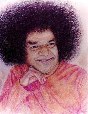 India Babas Drawing - Sathya Sai Baba- Strike A Pose by Anne Provost