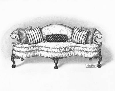 Classic Drawing Drawing - Satin Chippendale English Sofa by Adam Zebediah Joseph