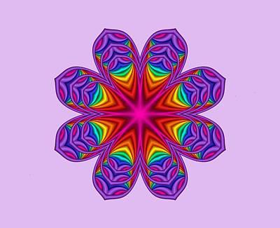 Satin Fractal Flower 3 Art Print