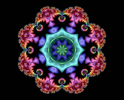 Digital Art - Satin Rainbow Fractal Flower I by Ruth Moratz