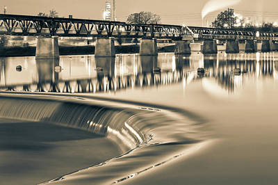 Satin Sepia Waters - Tulsa's 21st Street Bridge In Black And White Art Print by Gregory Ballos