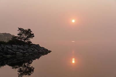 Photograph - Satiny Pinks And Rough Grays - Soft Fog Sunrise On The Lake by Georgia Mizuleva