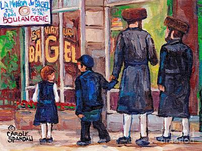 Painting - Satmar Rabbis Summer Stroll St Viateur Street Scene Canadian Artist C Spandau Jewish Neighborhoods   by Carole Spandau