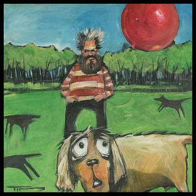 Painting - Saturday Afternoon At The Dog Park With Bearded Man And Balloon by Tim Nyberg