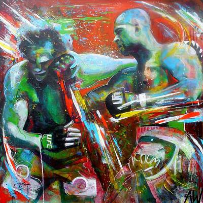 Fists Painting - Saturday Fight by Angie Wright