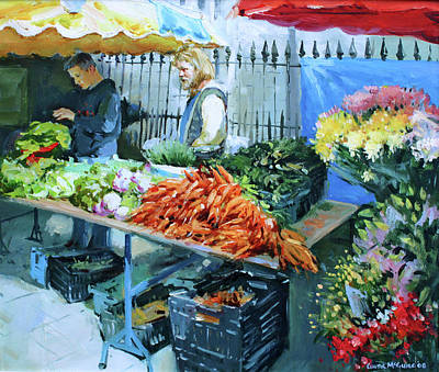 Irish Oil Painting - Saturday Market by Conor McGuire
