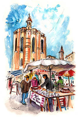 Painting - Saturday Market In Albi 01 by Miki De Goodaboom