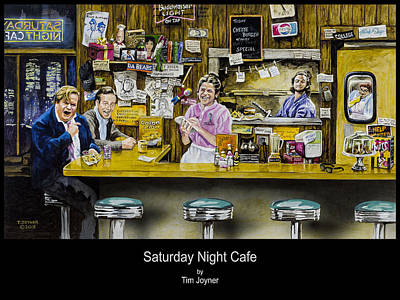 Painting - Saturday Night Cafe by Tim  Joyner