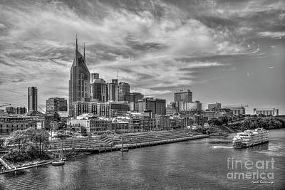 Photograph - Saturday Night Live B W  Riverfront Park Nashville Tennessee Cityscape Art by Reid Callaway
