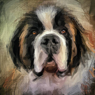 Impressionistic Dog Painting - Saturday With A Saint by Jai Johnson