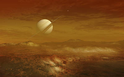 Terrain Digital Art - Saturn Above The Thick Atmosphere by Fahad Sulehria