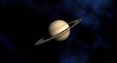 Print featuring the digital art Saturn by David Robinson