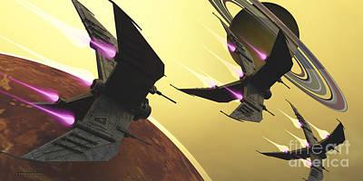 Saturn Moon Blast Art Print
