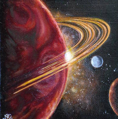 Deep Space Art Painting - Saturn  by Adrienne Martino