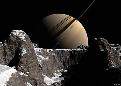 Print featuring the digital art Saturn Rise by David Robinson