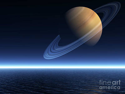 Saturn Rising Over Ocean - Landscape Mode Art Print by Nicholas Burningham