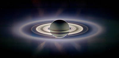 Solar Eclipse Photograph - Saturn Silhouetted, Cassini Image by Nasajplspace Science Institute