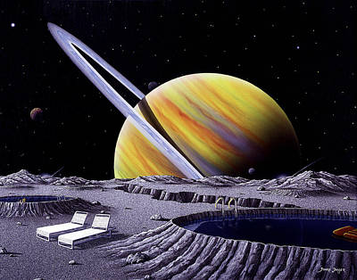 Surreal Art Painting - Saturn Spa by Snake Jagger