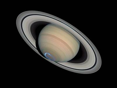 Astronomy Photograph - Saturn With Auroras by Artistic Panda