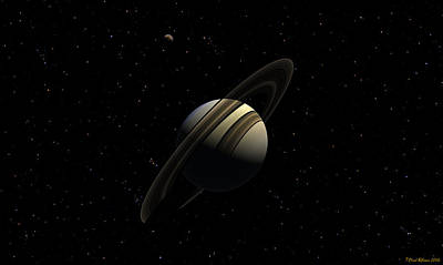 Digital Art - Saturn With Titan by David Robinson