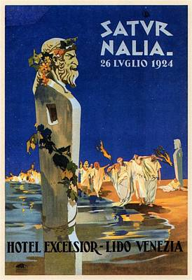 Royalty-Free and Rights-Managed Images - Saturnalia celebrations on Lido di Venezia - Venice, Italy - Vintage Poster by Studio Grafiikka