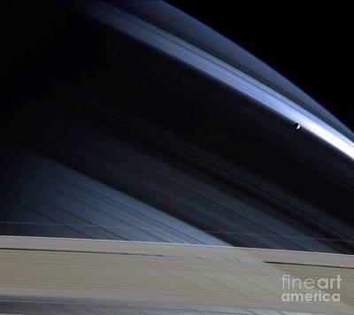 Photograph - Saturns Moon Mimas by NASA/Science Source