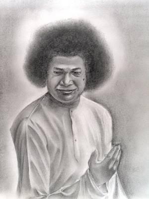 India Babas Drawing - Satya Sai Baba by Vijaykrishna Ravichandran