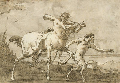 Drawing - Satyr Leading A Centaur, Who Carries A Club, Bow And Quiver, Outside The Walls Of A City by Giovanni Domenico Tiepolo