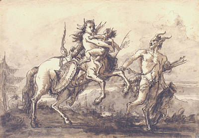 Drawing - Satyr Leading A Centauress Who Holds A Satyr Child by Giovanni Domenico Tiepolo